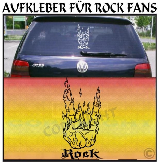 rock hand aufkleber und musik sticker mit flammen f rs. Black Bedroom Furniture Sets. Home Design Ideas